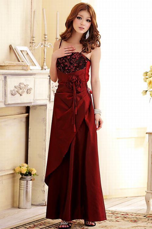Baju Pesta Korea Red Satin Long Dress Jk2 Pinyou Fashion